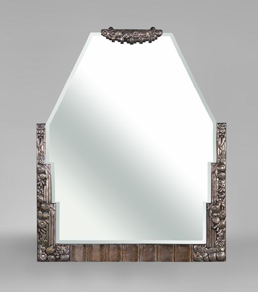 Rare Art Deco mirror, silvered bronze and beveled mirror, 1930's-0