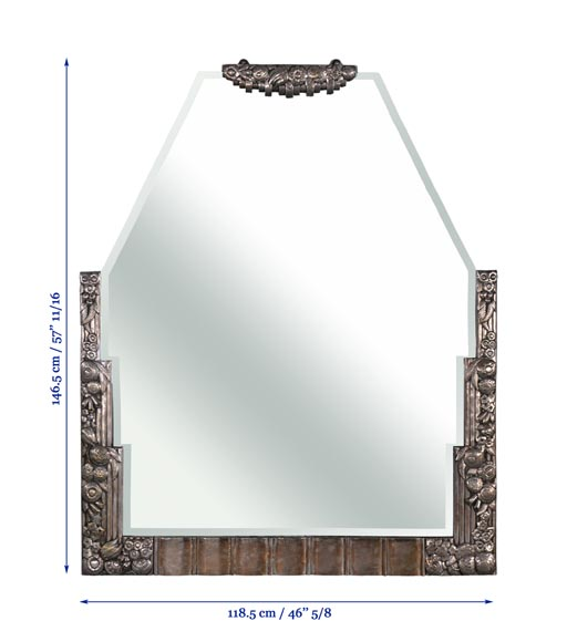 Rare Art Deco mirror, silvered bronze and beveled mirror, 1930's-8