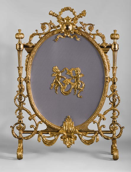 Very beautiful antique gilt bronze firescreen with putti and guarlands of flowers - Reference 10423
