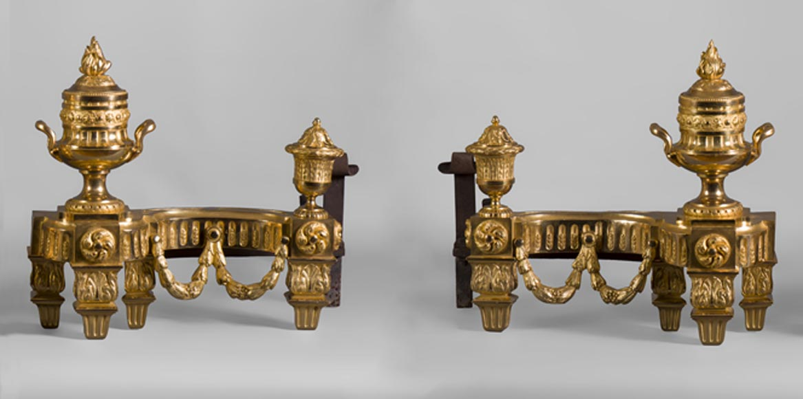 Beautiful antique Louis XVI style gilt bronze pair of andirons with vases and garlands decor - Reference 10424