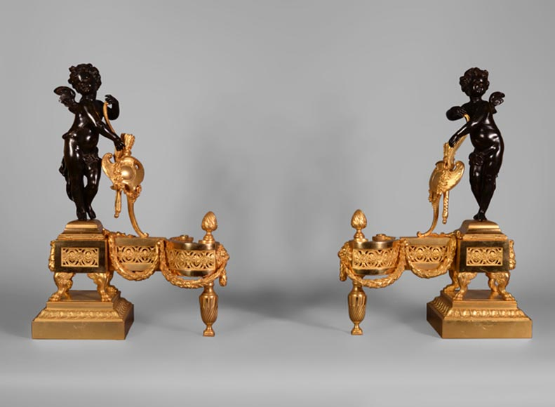 "Pair of gilt bronze and patinated bronze andirons with Cupid signed ""Morisot"" - Reference 10428"