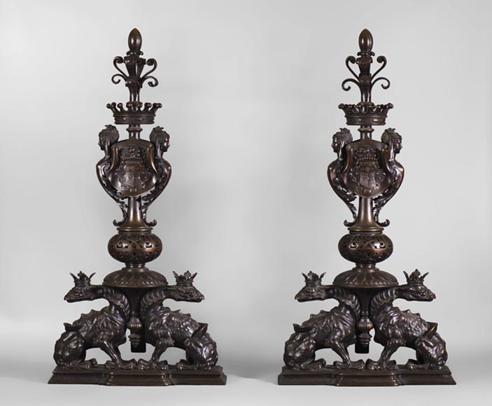 Exceptionnal Neo-Renaissance style pair of andirons in bronze with brown patina, decorated with crowned salamanders and the Camondo's coat of arms  - Reference 10434