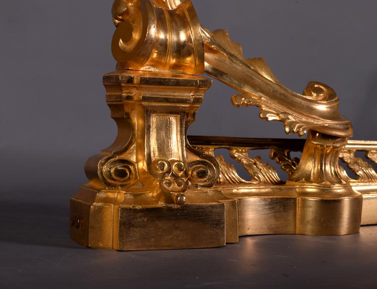Beautiful antique Napoleon III style fire fender in gilt bronze with large acanthus leaves-3