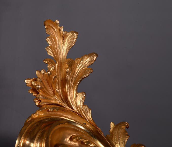 Beautiful antique Napoleon III style fire fender in gilt bronze with large acanthus leaves-4