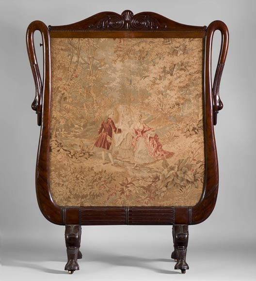 Large Restoration period fire screen in mahogany wood with gooseneck decor-0