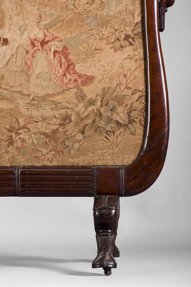 Large Restoration period fire screen in mahogany wood with gooseneck decor-3