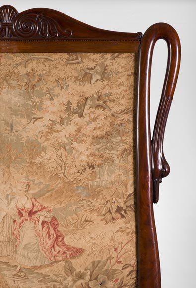 Large Restoration period fire screen in mahogany wood with gooseneck decor-4