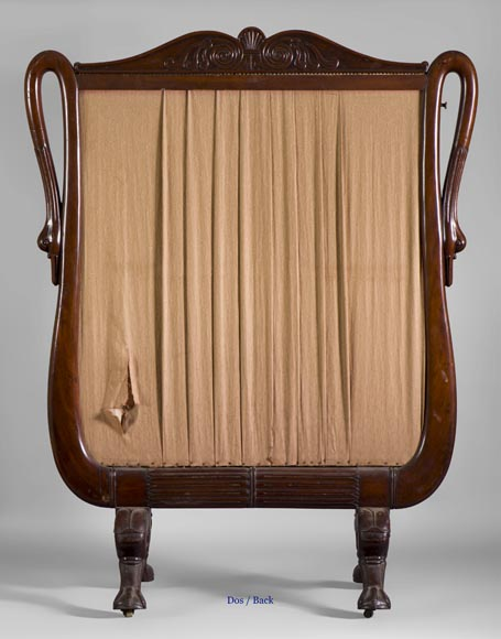 Large Restoration period fire screen in mahogany wood with gooseneck decor-6