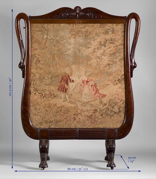 Large Restoration period fire screen in mahogany wood with gooseneck decor-7