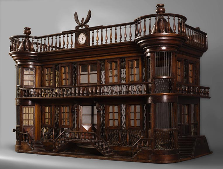 Rare antique bird cage in the shape of a miniature castle, late 19th century-0