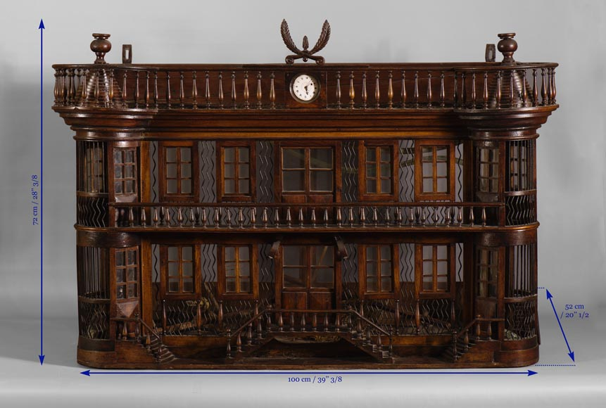 Rare antique bird cage in the shape of a miniature castle, late 19th century-6