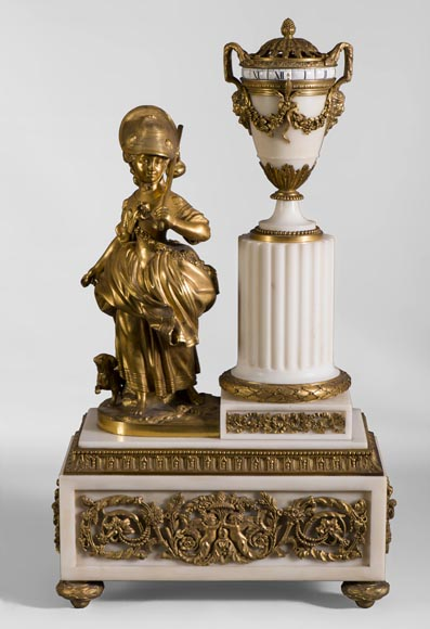 Rare Louis XVI style clock with turning dial with young shepherdess decor, Statuary marble and gilt bronze-0