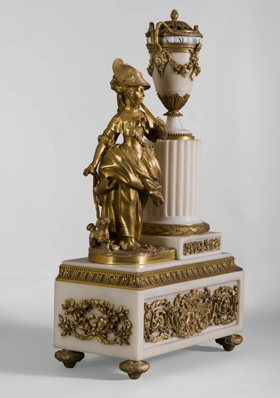 Rare Louis XVI style clock with turning dial with young shepherdess decor, Statuary marble and gilt bronze-1
