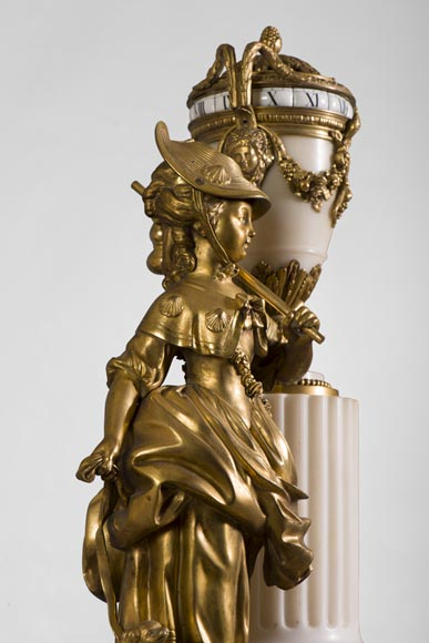 Rare Louis XVI style clock with turning dial with young shepherdess decor, Statuary marble and gilt bronze-2