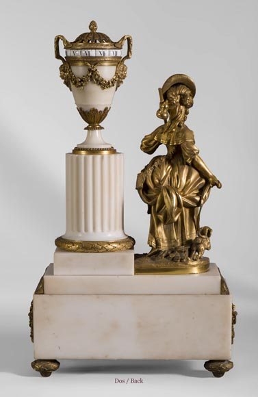 Rare Louis XVI style clock with turning dial with young shepherdess decor, Statuary marble and gilt bronze-8