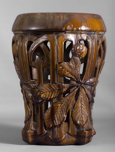 Rare art nouveau ceramic stool with chestnut leaves decor for Art nouveau decoration ameublement