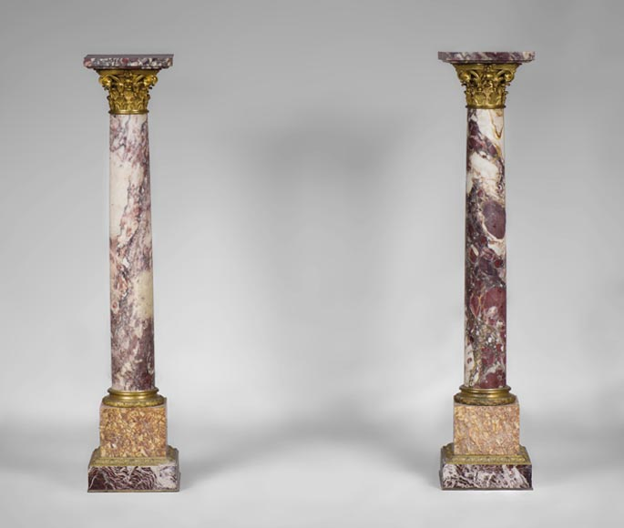 Very beautiful antique pair of columns in Breccia Violet marble, Yellow Brocatelle and Red Levanto with gilt bronze ornaments-0