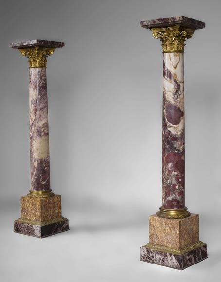 Very beautiful antique pair of columns in Breccia Violet marble, Yellow Brocatelle and Red Levanto with gilt bronze ornaments-1