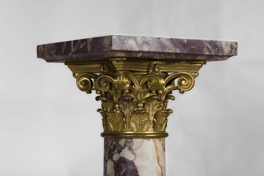 Very beautiful antique pair of columns in Breccia Violet marble, Yellow Brocatelle and Red Levanto with gilt bronze ornaments-3