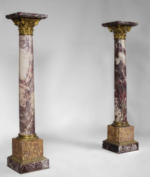 Very beautiful antique pair of columns in Breccia Violet marble, Yellow Brocatelle and Red Levanto with gilt bronze ornaments-5