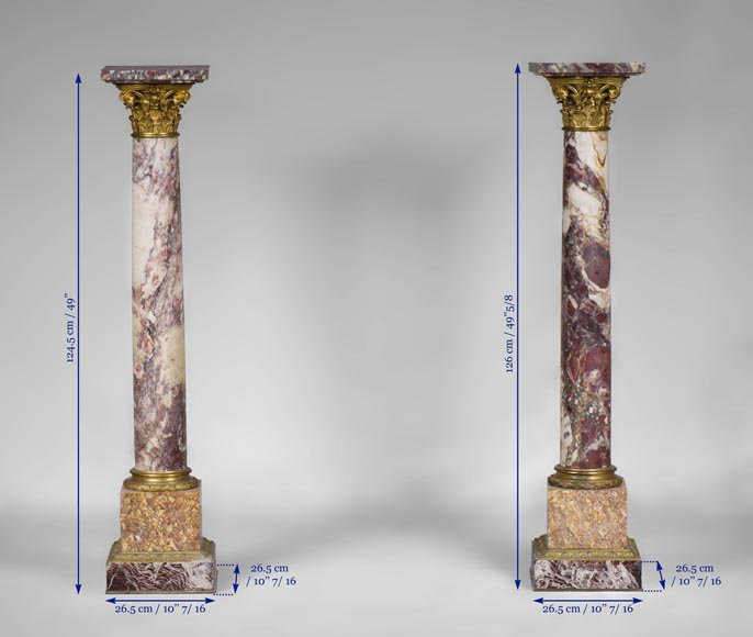 Very beautiful antique pair of columns in Breccia Violet marble, Yellow Brocatelle and Red Levanto with gilt bronze ornaments-9
