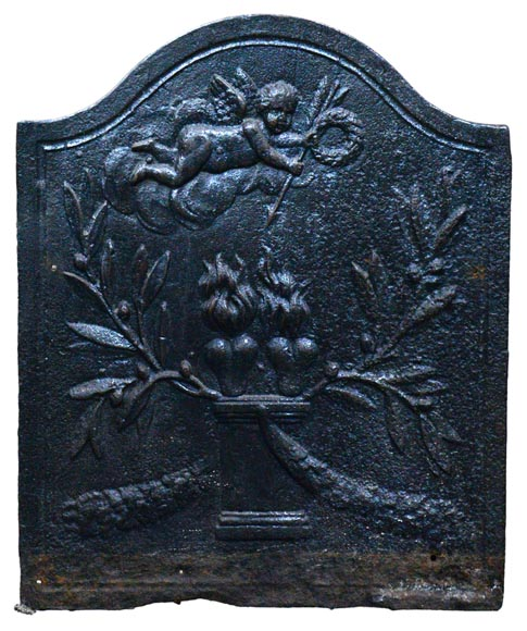 Two hearts burning on an altar, antique small Louis XVI period fireback - Reference 10456