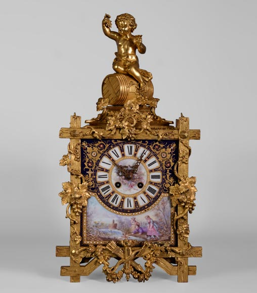 A Napoleon III style clock made out of porcelain and gilded bronze representing Bacchus, god of wine-0
