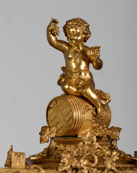 A Napoleon III style clock made out of porcelain and gilded bronze representing Bacchus, god of wine-2