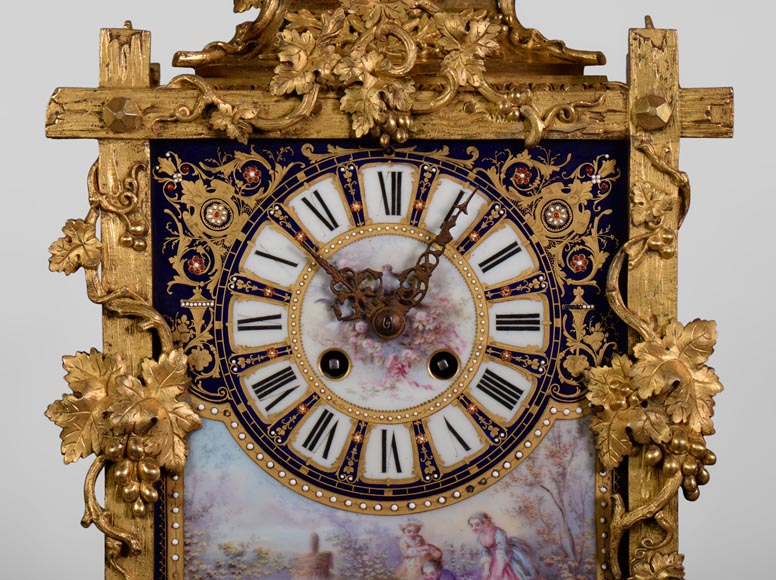 A Napoleon III style clock made out of porcelain and gilded bronze representing Bacchus, god of wine-4