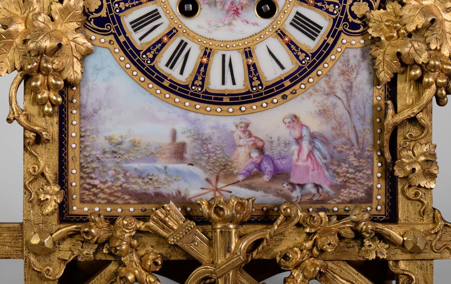 A Napoleon III style clock made out of porcelain and gilded bronze representing Bacchus, god of wine-5