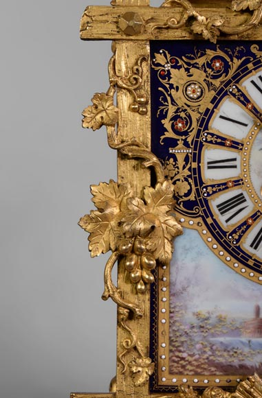 A Napoleon III style clock made out of porcelain and gilded bronze representing Bacchus, god of wine-6