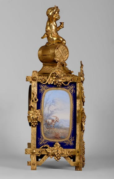 A Napoleon III style clock made out of porcelain and gilded bronze representing Bacchus, god of wine-8