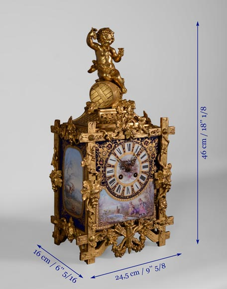 A Napoleon III style clock made out of porcelain and gilded bronze representing Bacchus, god of wine-10