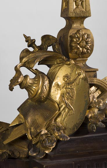 Pair of Louis XVI style andirons in patinated bronze and beautiful gilt bronze decoration depicting the attributes of the Arts-4