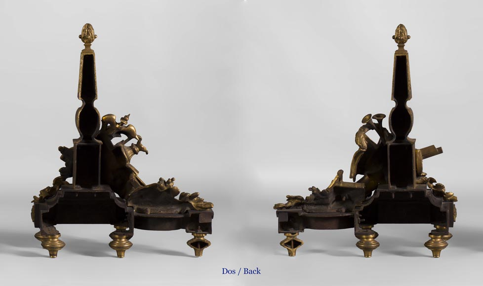 Pair of Louis XVI style andirons in patinated bronze and beautiful gilt bronze decoration depicting the attributes of the Arts-7