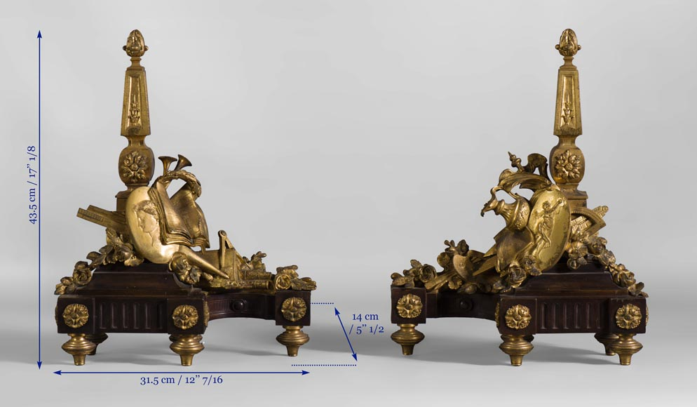Pair of Louis XVI style andirons in patinated bronze and beautiful gilt bronze decoration depicting the attributes of the Arts-8