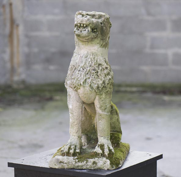 Lion, antique stone garden statue from the 17th century-0
