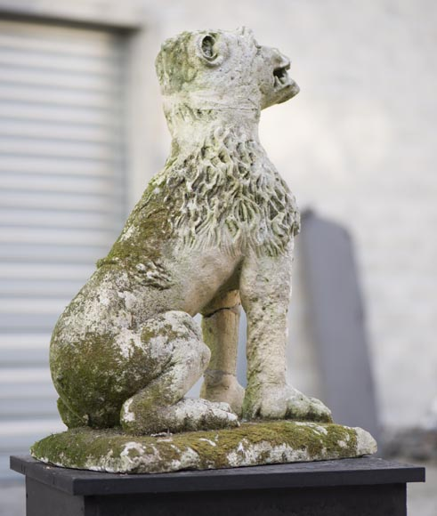 Lion, antique stone garden statue from the 17th century-1