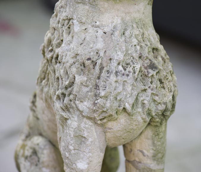 Lion, antique stone garden statue from the 17th century-3