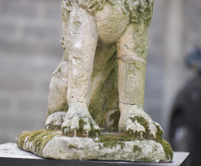 Lion, antique stone garden statue from the 17th century-4
