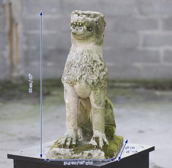 Lion, antique stone garden statue from the 17th century-5