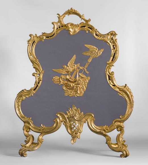 Antique Louis XV style firescreen in gilt bronze with birds and music instruments decoration-0