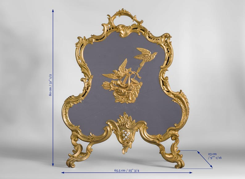 Antique Louis XV style firescreen in gilt bronze with birds and music instruments decoration-7