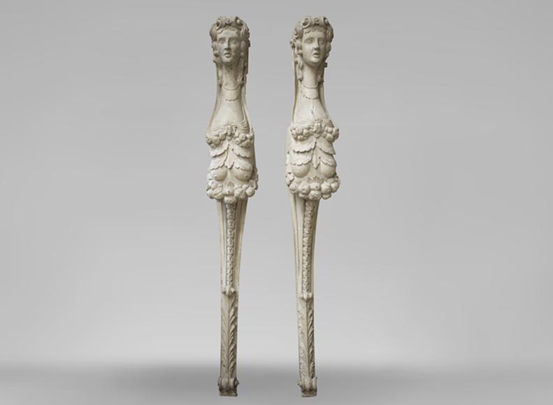 Pair of carved wood caryatids from the 18th century-0