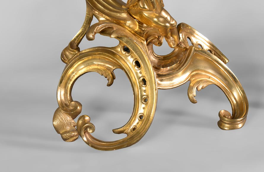 Pair of antique Louis XV style gilt bronze andirons with children, after a model by Jacques Caffieri-3