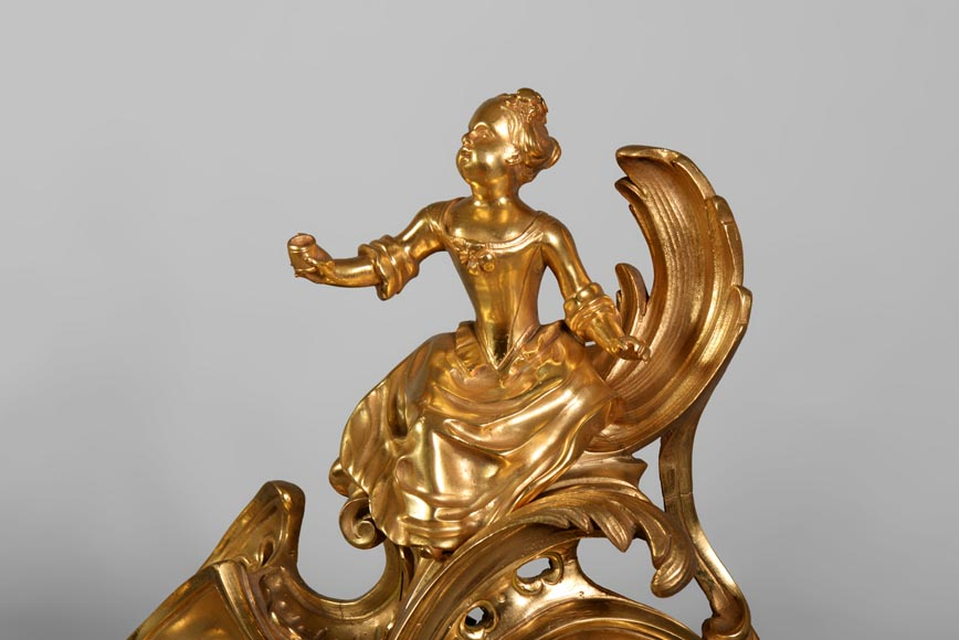Pair of antique Louis XV style gilt bronze andirons with children, after a model by Jacques Caffieri-5