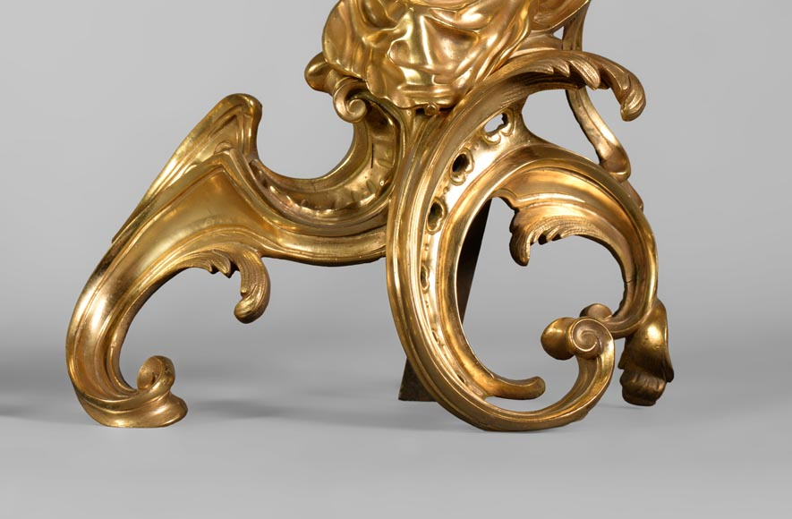 Pair of antique Louis XV style gilt bronze andirons with children, after a model by Jacques Caffieri-6