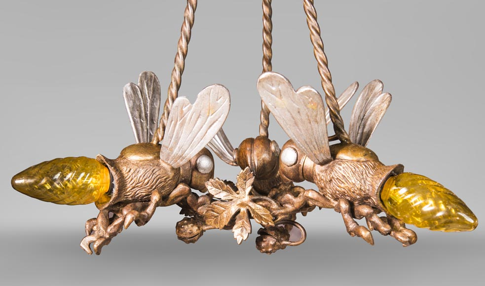 An Antique bronze chandelier, decorated with  bumblebees forming lights-1
