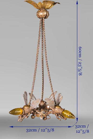 An Antique bronze chandelier, decorated with  bumblebees forming lights-4