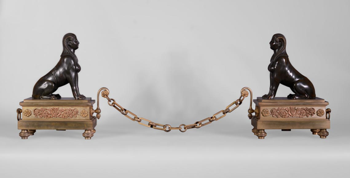 Antique Empire style pair of andirons with Sphinxes, gilt bronze and brown patina bronze-0